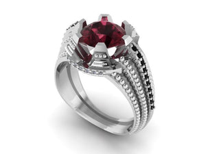 """Stairway"" Black Diamond and Garnet Ring by Geoff Thomas - Talisman Collection Fine Jewelers"