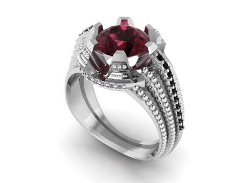 "Black Diamond and Garnet ""Stairway"" Ring"