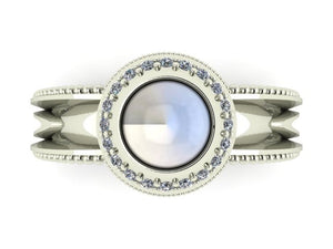 """Water Drop"" Moonstone and Diamond Halo Ring by Geoff Thomas - Talisman Collection Fine Jewelers"