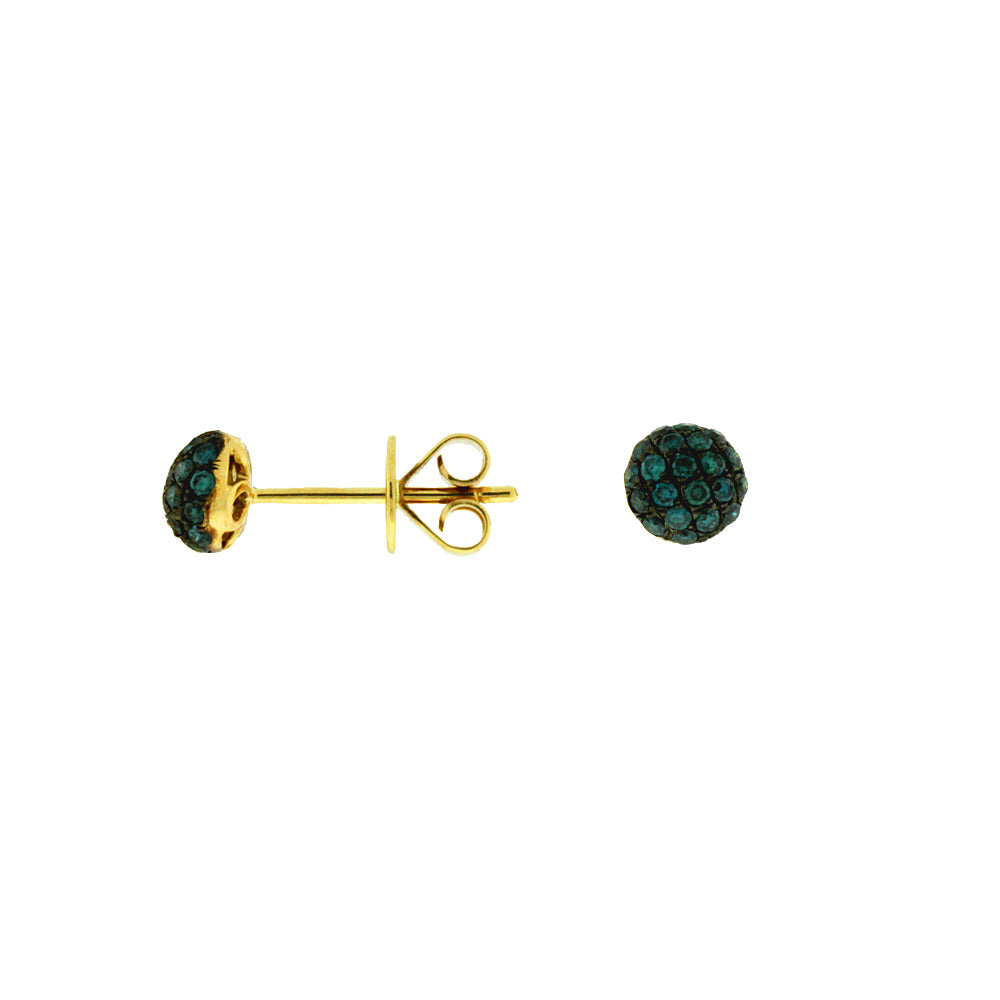 Blue Diamond Stud Earrings in 14k Yellow Gold
