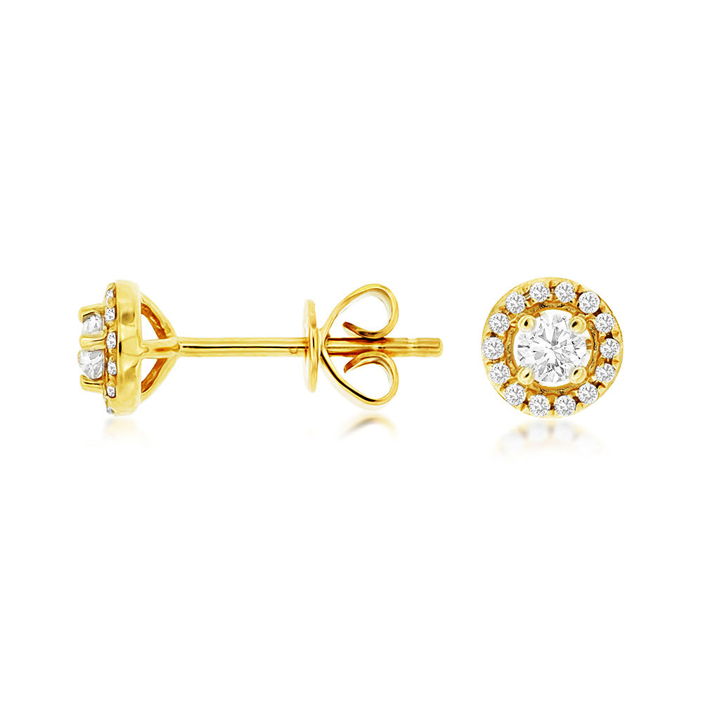 Diamond Halo Stud Earrings, 0.25 Carat Total Weight in 14k Yellow Gold