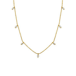 Diamond Astrid Station Necklace in 14k Yellow Gold