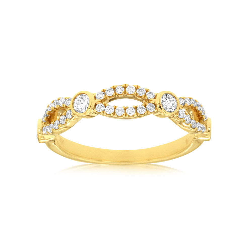 Diamond Twist Stack Band in 14k Yellow Gold