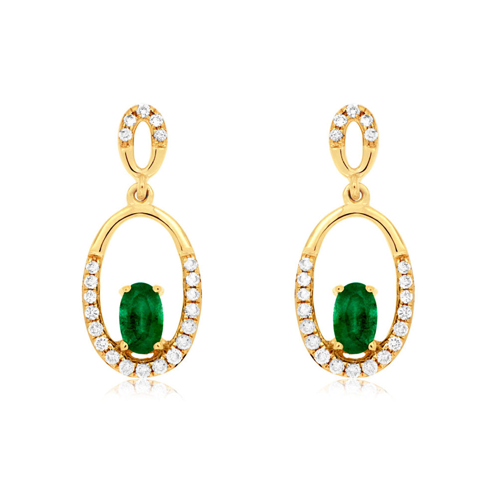 Emerald and Diamond Florence Earrings