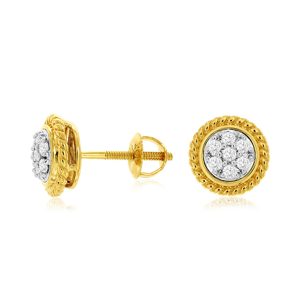 Diamond Braided Mosaic Stud Earrings in 14k Yellow Gold