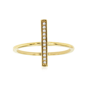 Diamond Bar Ring in 14k Yellow Gold