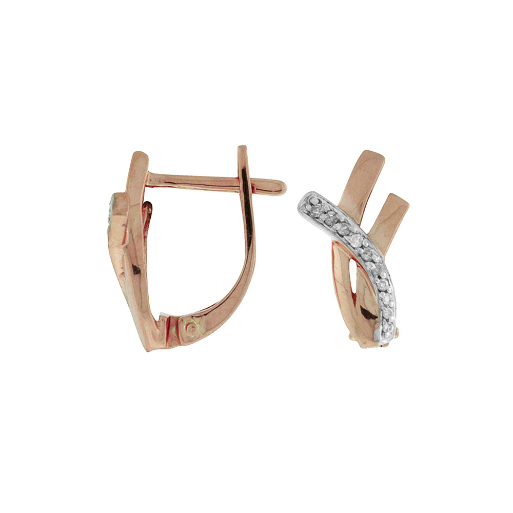 Diamond Stellar Hoop Earrings in 14k Rose Gold - Talisman Collection Fine Jewelers