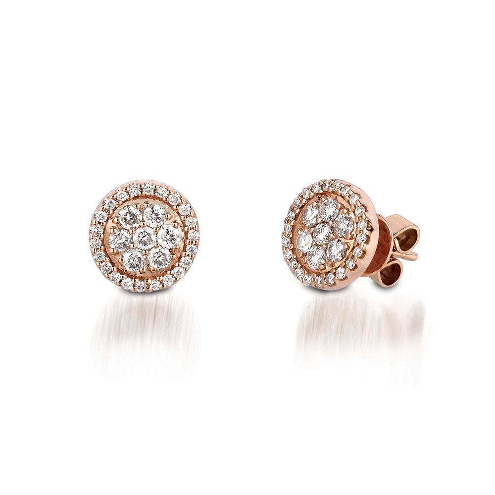 Diamond Mosaic Stud Earrings in 14k Rose Gold - Talisman Collection Fine Jewelers