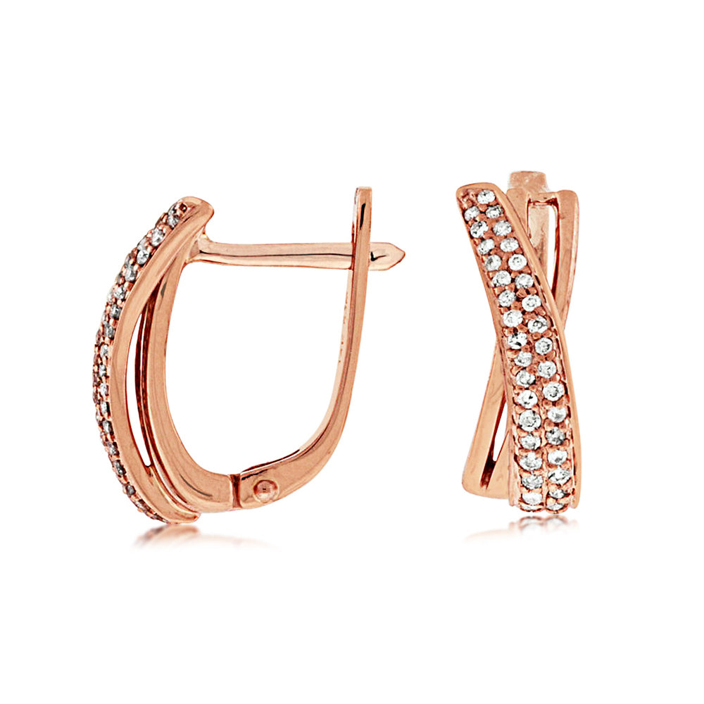 Diamond Parallax Hoop Earrings in 14k Rose Gold - Talisman Collection Fine Jewelers