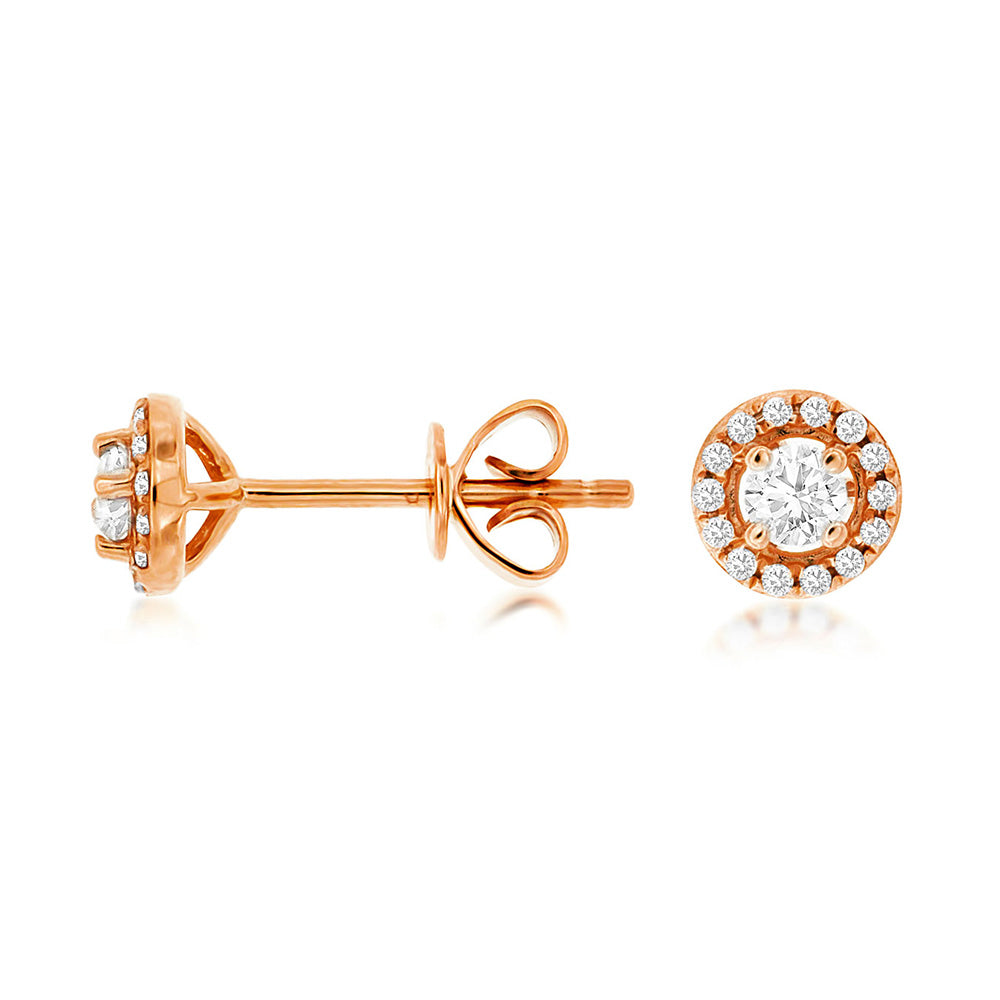 Diamond Halo Stud Earrings, 0.25 Carat Total Weight in 14k Rose Gold