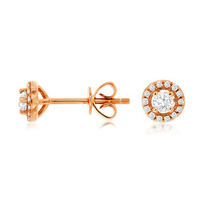 Diamond Halo Stud Earrings, 0.25 Carat Total Weight in 14k Rose Gold - Talisman Collection Fine Jewelers
