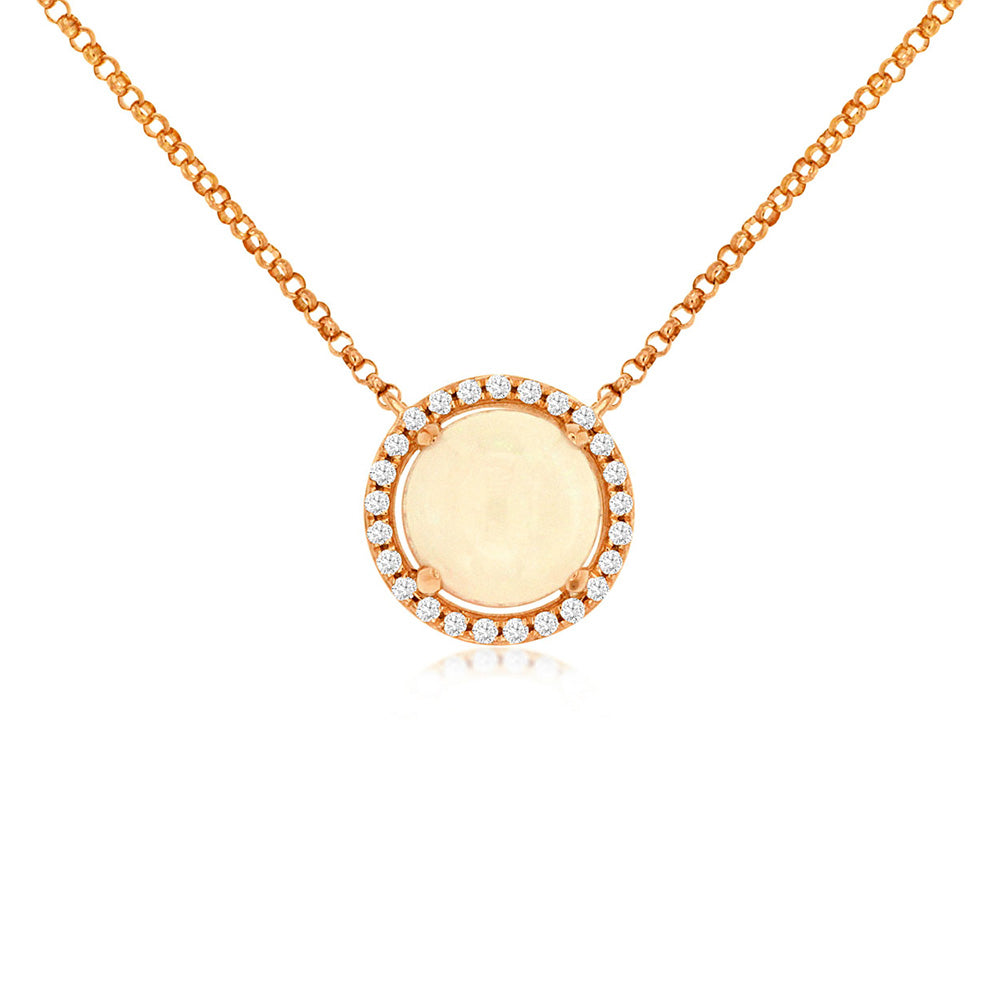 Opal and Diamond Disc Necklace in 14k Rose Gold