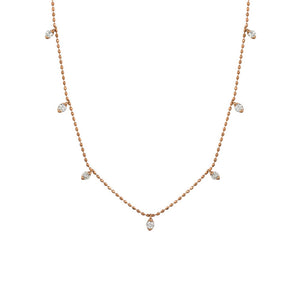Diamond Astrid Station Necklace in 14k Rose Gold