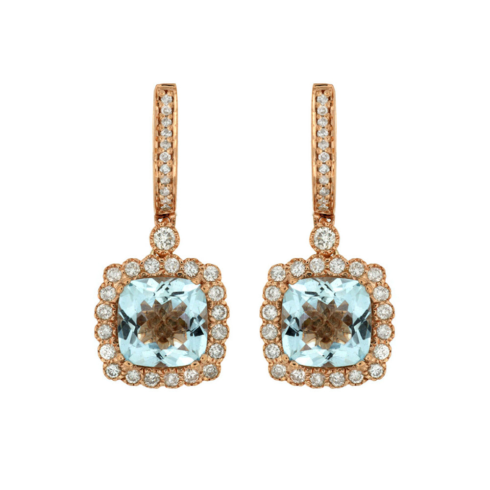 Aquamarine and Diamond Drop Earrings in 14k Rose Gold - Talisman Collection Fine Jewelers