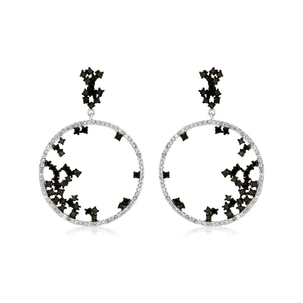 Black and White Diamond Galaxy Earrings