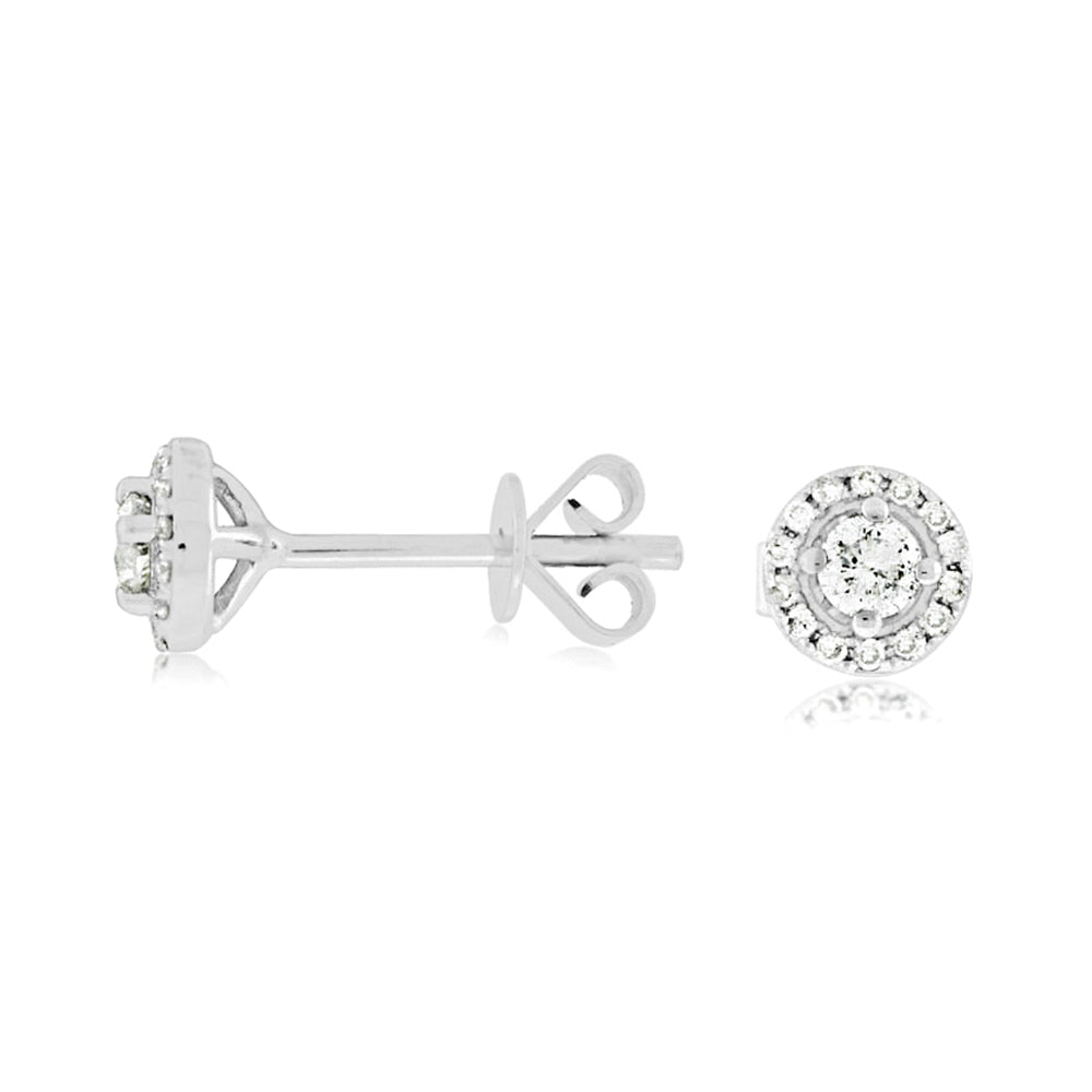 Diamond Halo Stud Earrings, 0.25 Carat Total Weight in 14k White Gold