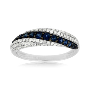 Sapphire and Diamond Pavé Flow Band