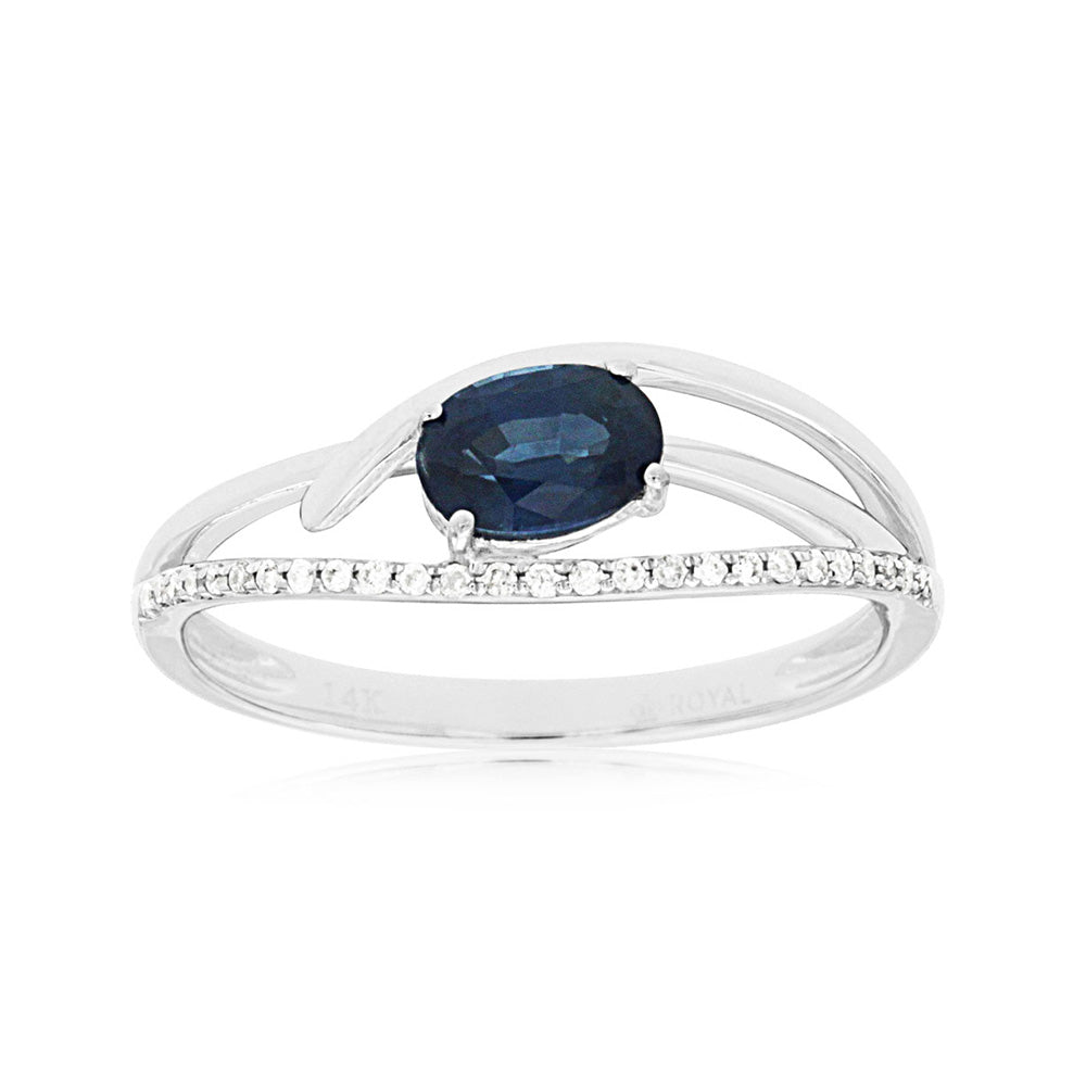 Sapphire and Diamond Wisp Ring