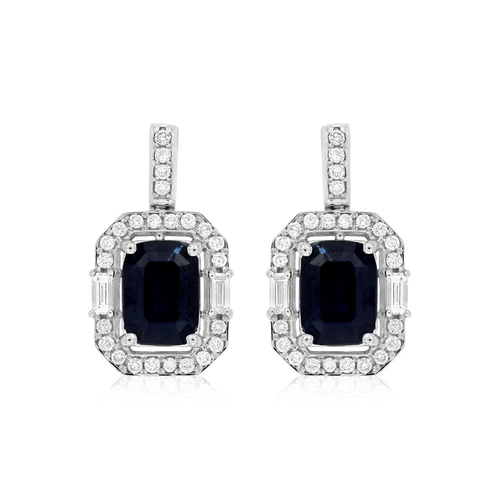 Blue Sapphire and Diamond Royal Drop Earrings