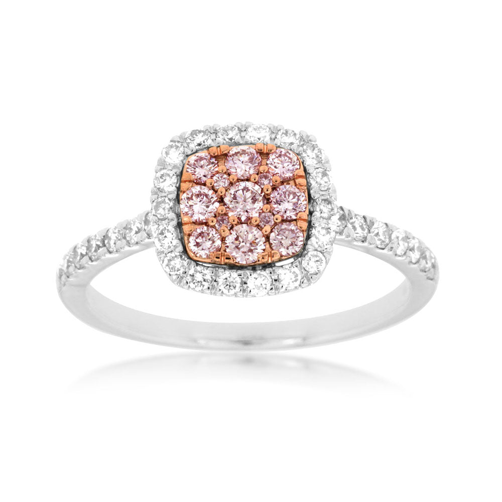 Pink and White Diamond Pavé Square Ring