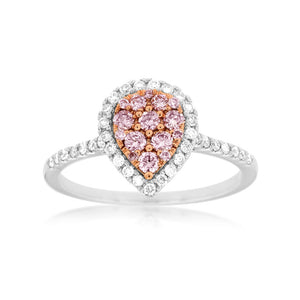 Pink and White Diamond Pavé Pear-Shaped Ring