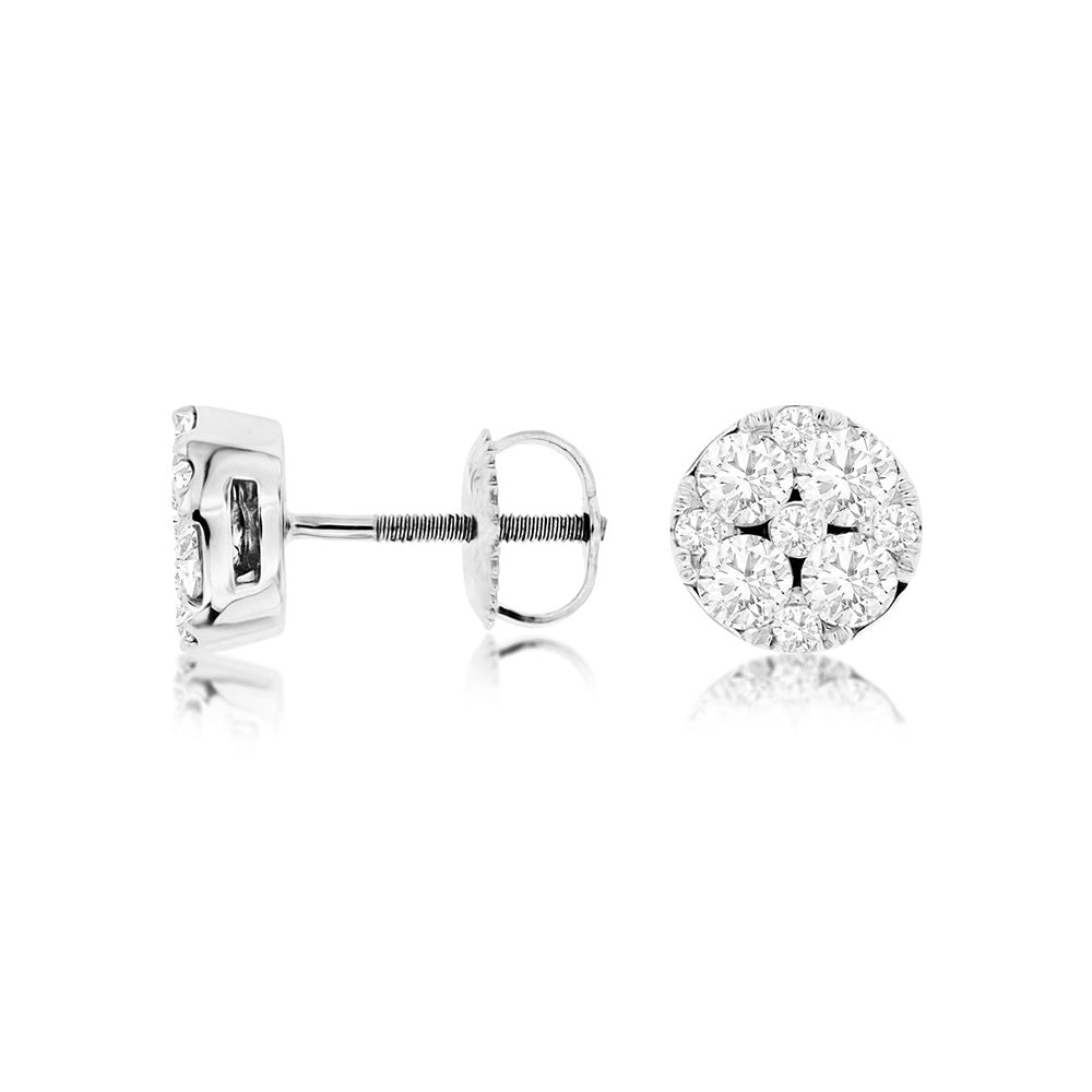 Diamond Mosaic Stud Earrings, 1.00 Carat Total Weight in 14k White Gold