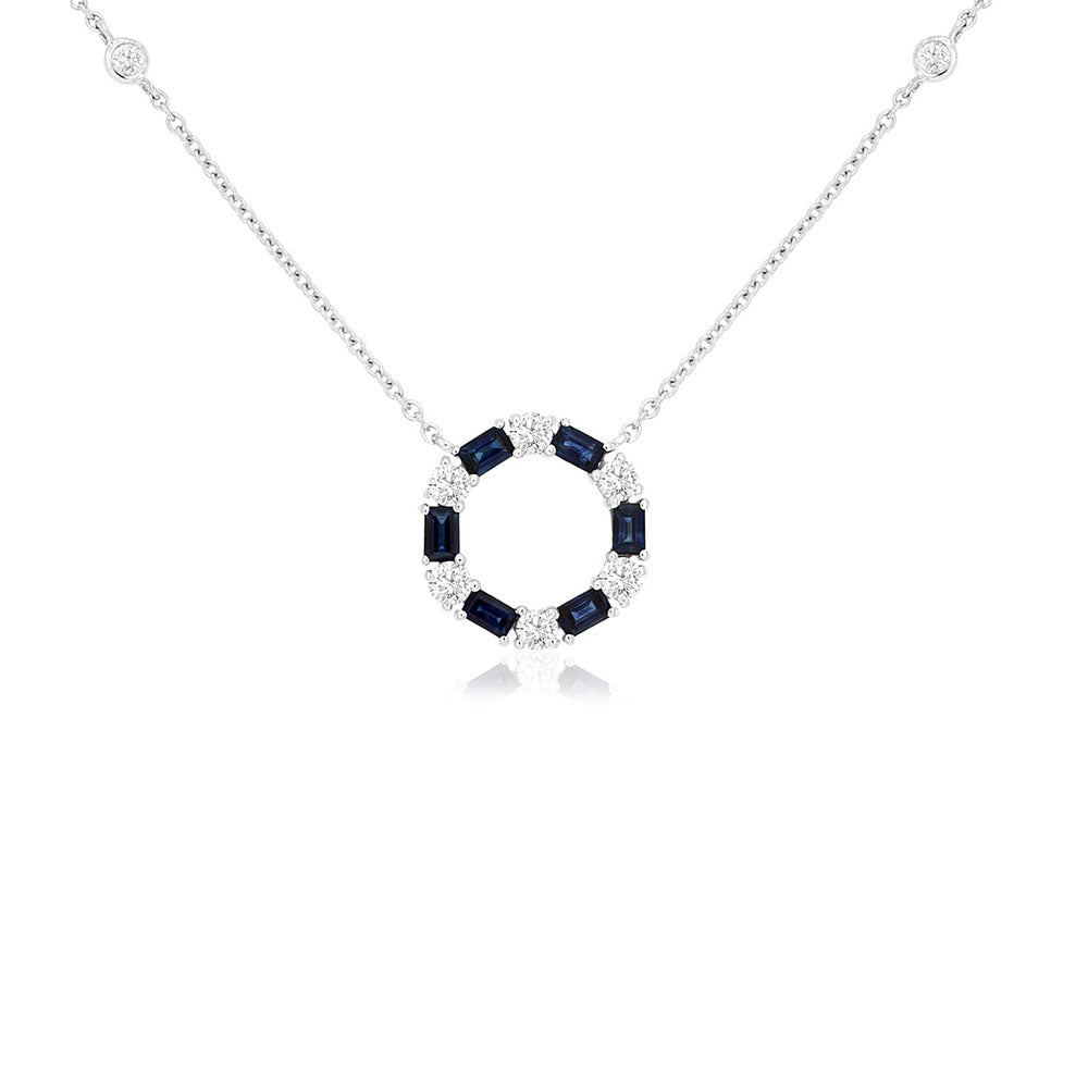 Blue Sapphire and Diamond Unity Necklace