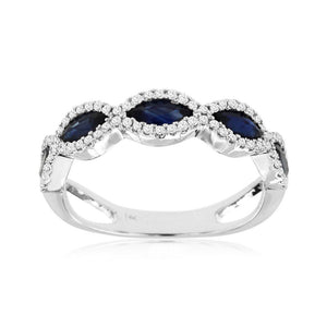 Marquise Sapphire and Diamond Stack Band in 14k White Gold