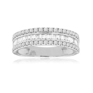 Diamond Nova Stack Band in 14k White Gold