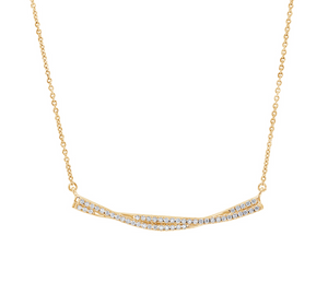 Diamond Twisted Bar Necklace in White, Yellow or Rose Gold - Talisman Collection Fine Jewelers