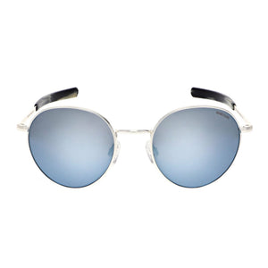 Douglas Sunglasses, Satin Silver Frames with Mystic Blue Lenses by Randolph - Talisman Collection Fine Jewelers