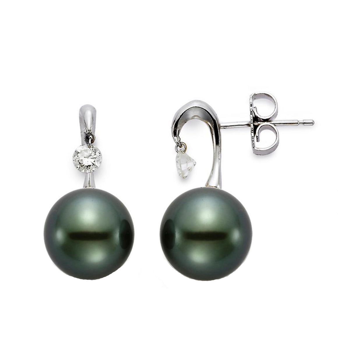 Tahitian Pearl and Drilled Diamond Earrings by Mastoloni - Talisman Collection