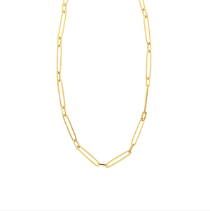 Paperclip Chain 14k Gold, Alternating Links