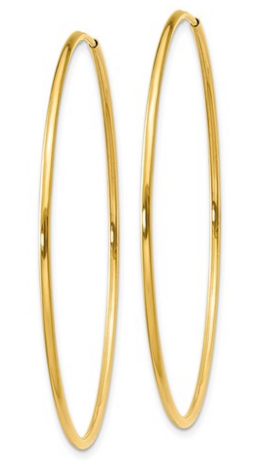 14k Yellow Gold Hoop Earrings, 45mm diameter, 1.25 mm thick