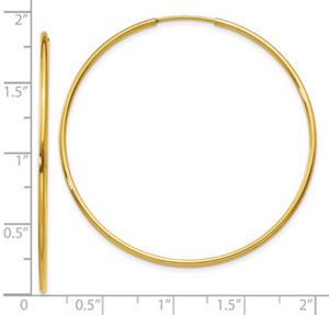14k Yellow Gold Hoop Earrings, 45mm diameter, 1.25 mm thick - Talisman Collection Fine Jewelers