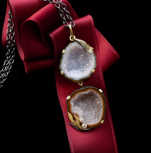 Double Geode Lemongrass Necklace by Laurie Kaiser