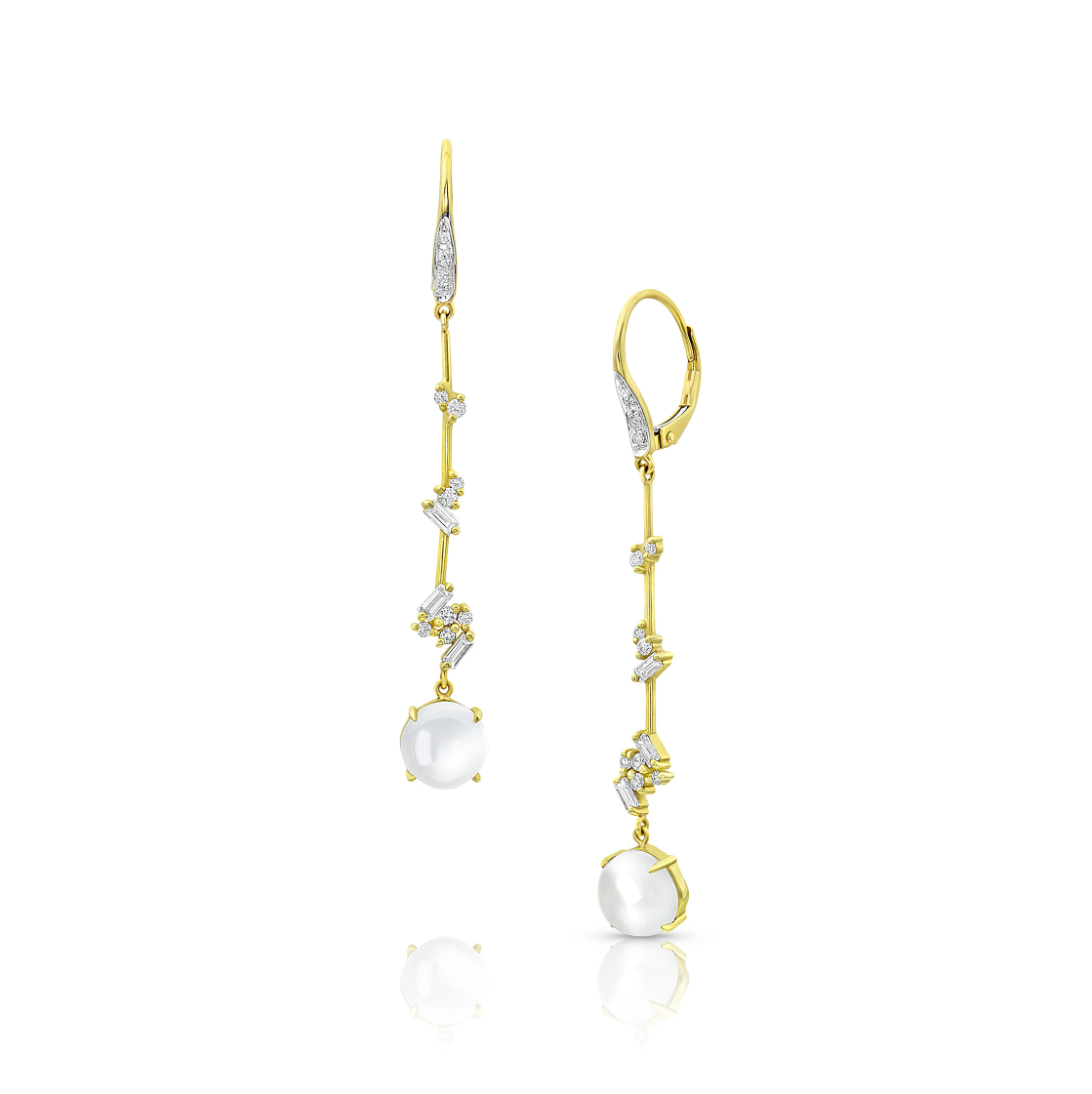 Moonstone and Diamond Luxe Threader Earrings by Meredith Young - Talisman Collection Fine Jewelers
