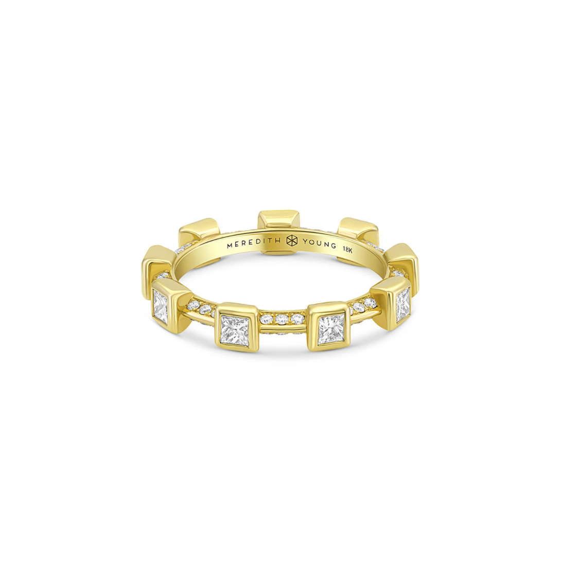 Princess Diamond Pavé Bezel Ring by Meredith Young - Talisman Collection Fine Jewelers