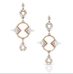 Diamond Mirrored Outline Shield Earrings by Meredith Young