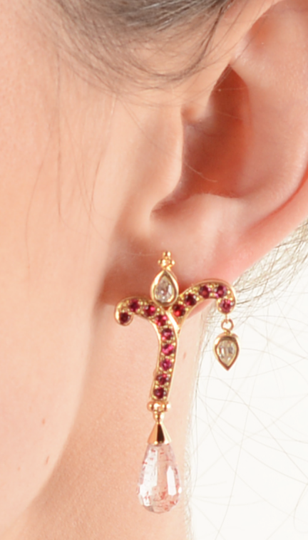 "Crevoshay ""Giving Tree"" Rare Spinel 18k Yellow Gold Earrings"