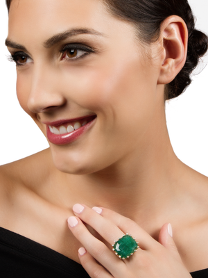 Emerald and Diamond Firecracker Ring by Suzy Landa - Talisman Collection Fine Jewelers