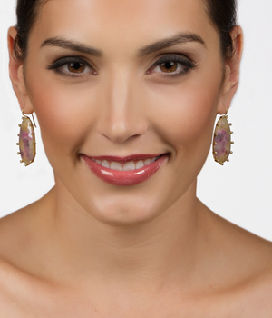 Suzy Landa One-of-a-Kind Rough Ruby & Diamond 18k Earrings - Talisman Collection