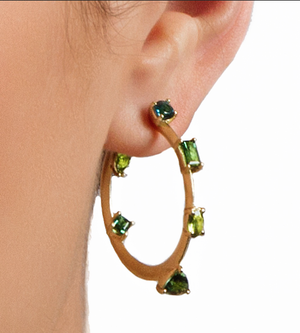 Suzy Landa 18k Ombre Green Tourmaline Hoop Earrings - Talisman Collection