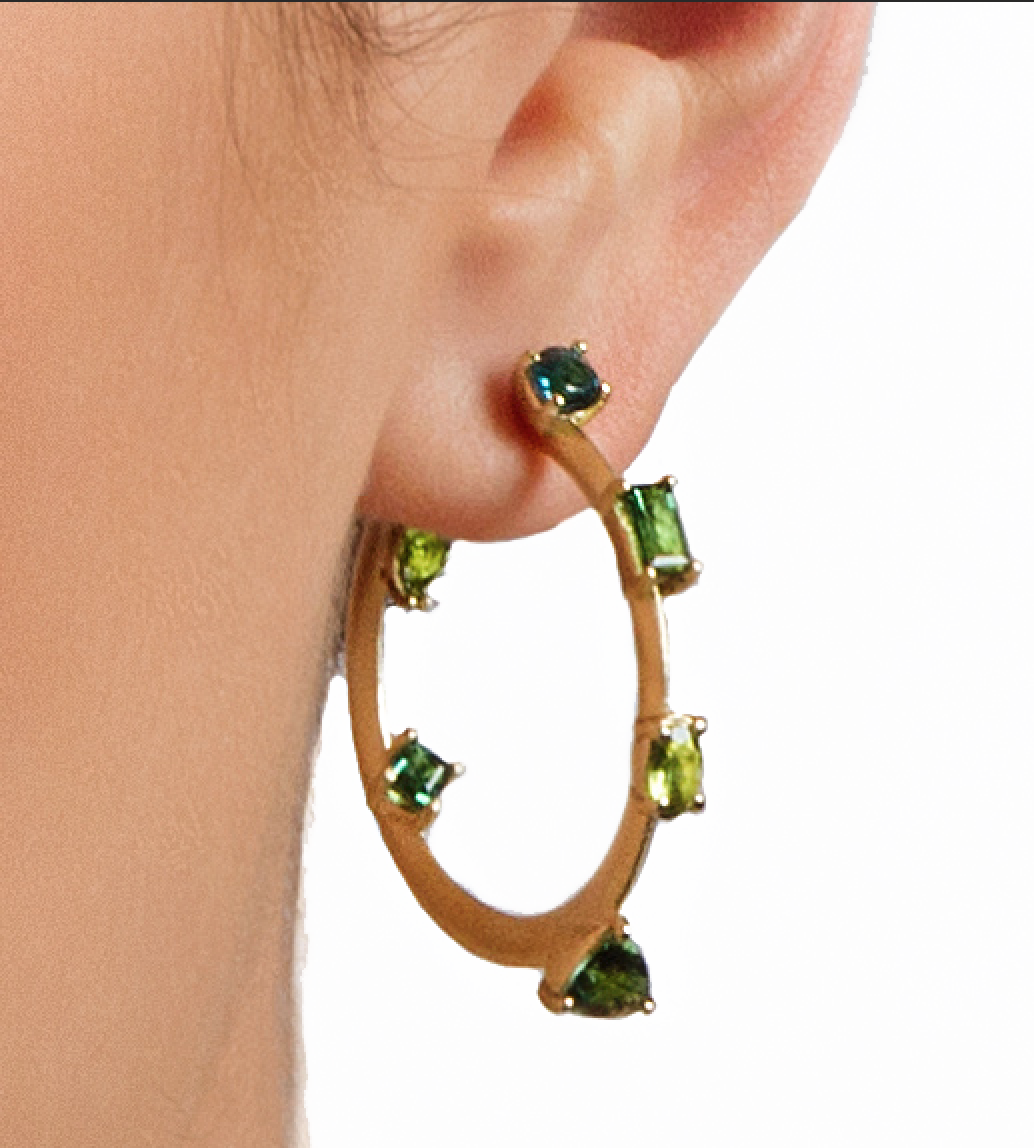 Ombre Green Tourmaline Hoop Earrings by Suzy Landa - Talisman Collection Fine Jewelers