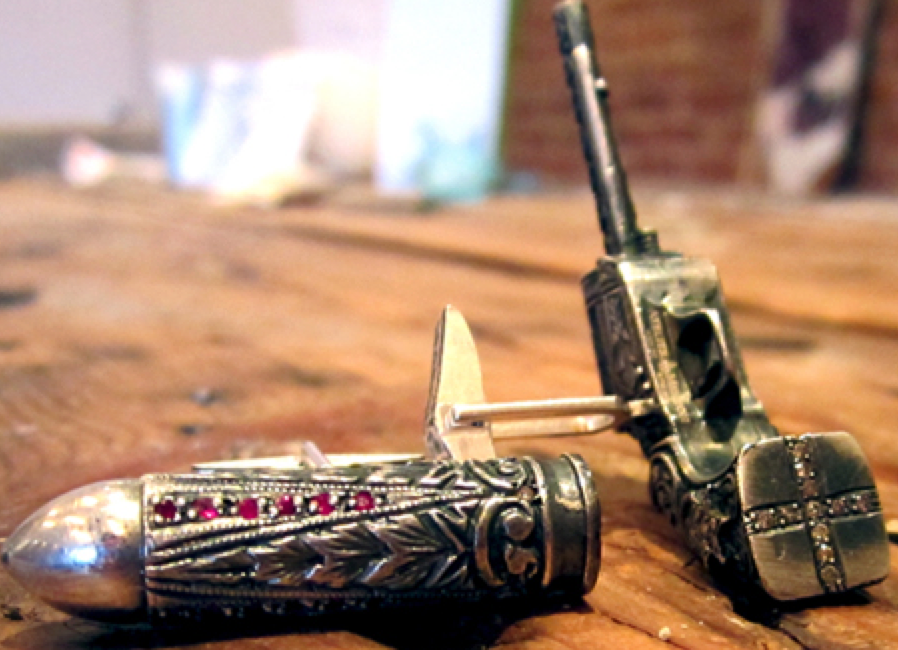 Atelier Minyon Hand Carved Silver Bullet with Rubies & Diamonds
