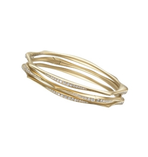 Diamond Wave Bangle Bracelets in 18k Gold by Anahita - Talisman Collection Fine Jewelers
