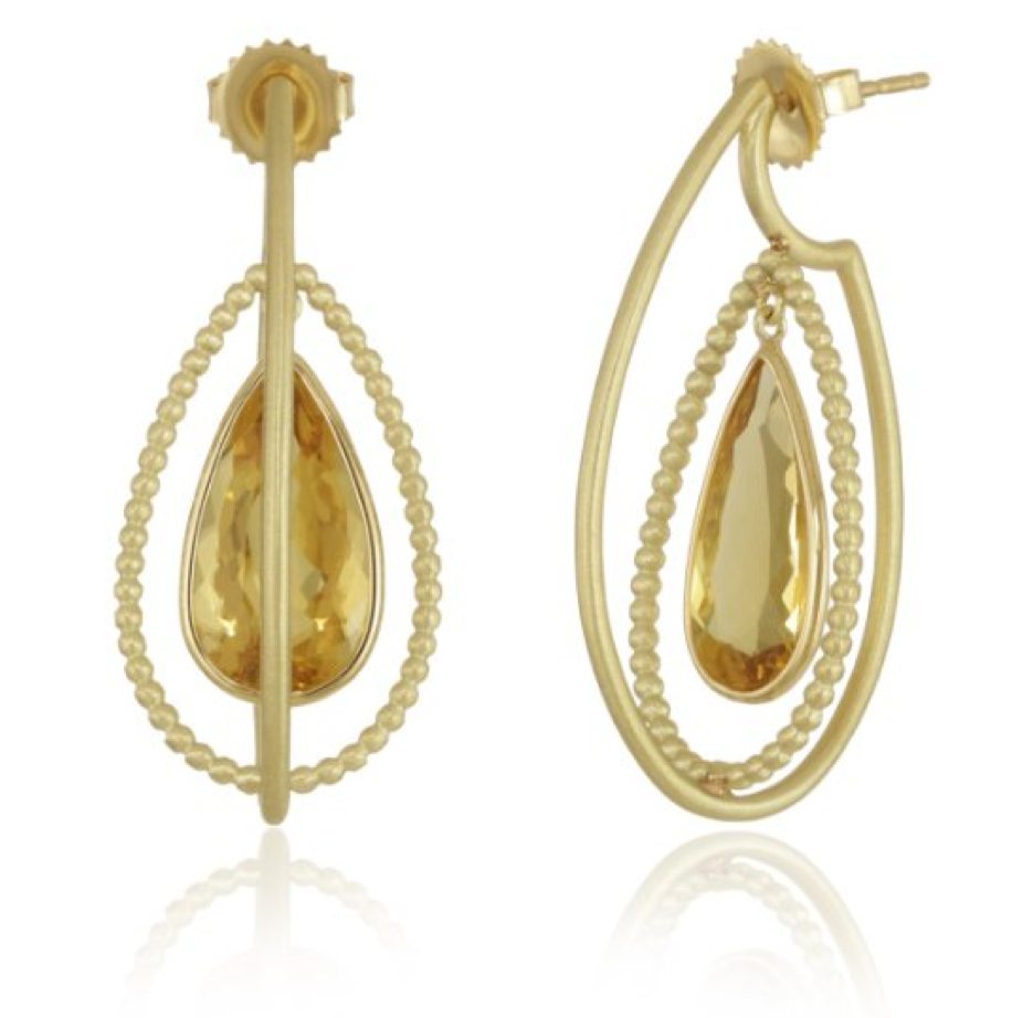 Suzy Landa 18k Yellow Gold 3-D with Pear Shape Canary Beryl Inside Hoop Earrings - Talisman Collection