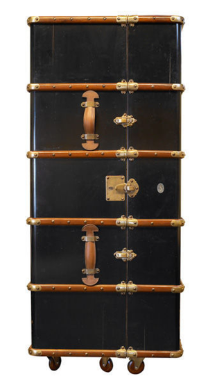 Stateroom Bar in Ivory or Black - Steamer Trunk Bar Cabinet - Talisman Collection