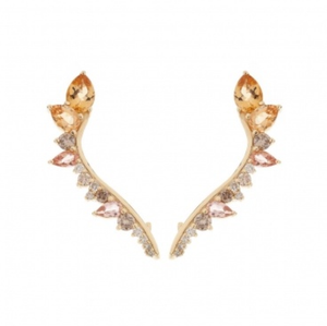 Diamond & Imperial Topaz Electric Lobe Earrings by Fernando Jorge - Talisman Collection Fine Jewelers