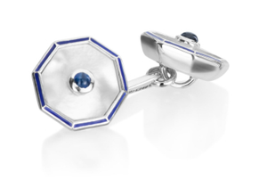 All Business - Blue Enamel and White Mother of Pearl Cufflinks by Deakin & Francis - Talisman Collection Fine Jewelers
